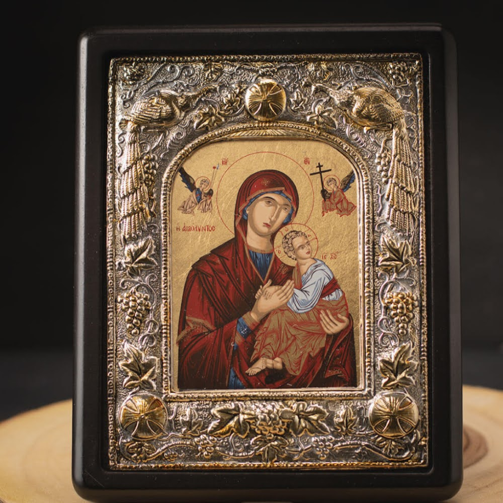 virgin-mary-and-baby-jesus-gold-and-silver-board